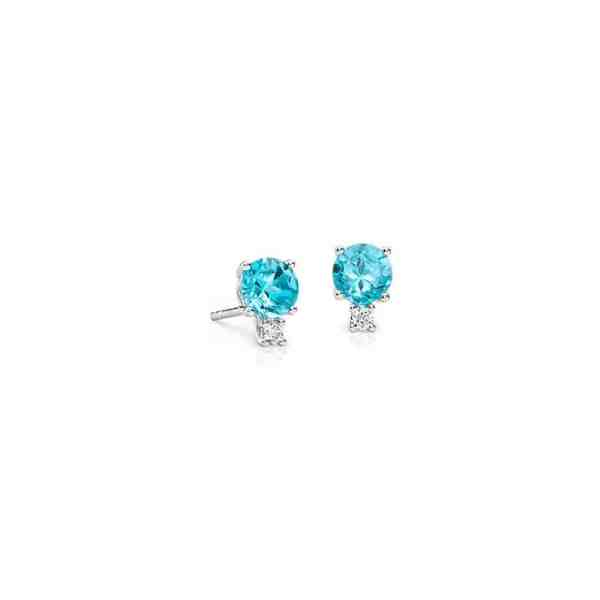 Perhiasan emas berlian white gold 18K diamond gemstone earring blue dot