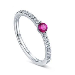 Tiaria Perhiasan cincin emas berlian batu White Gold 18K Diamond natural gemstone radiant ruby