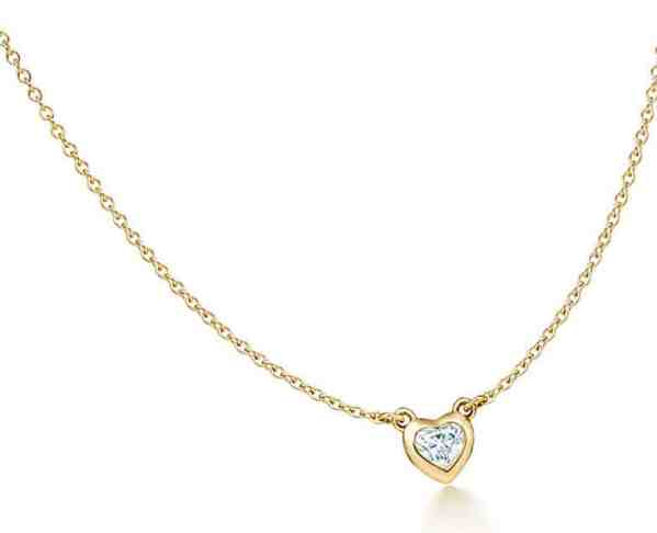 Perhiasan emas berlian white gold 18K diamond necklace heart