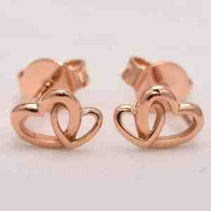 Perhiasan emas gold anting Love D1 Rose Gold Anting Emas 18K