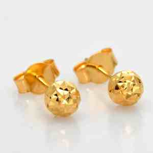 Perhiasan emas gold anting Sparkling Ball Gold Anting Emas 18K
