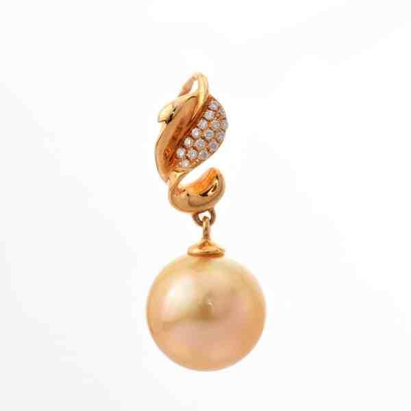 Tiaria 18K Pearl Gold Diamond Precious Pearl Ap87010 Pendant
