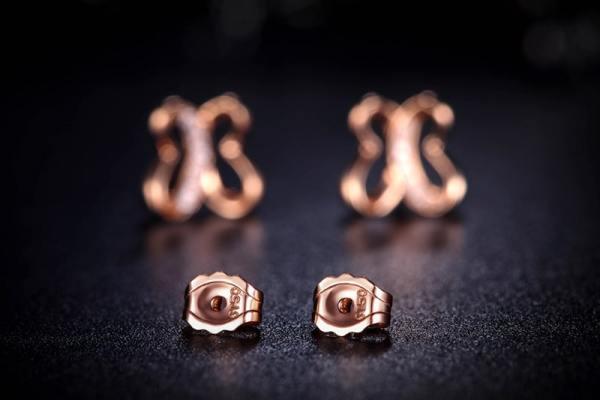 Tiaria 0.03ct Diamond 18K Rose Gold Butterfly Stud Earrings (3)