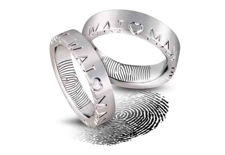 Ring with finger print engraved inside.
