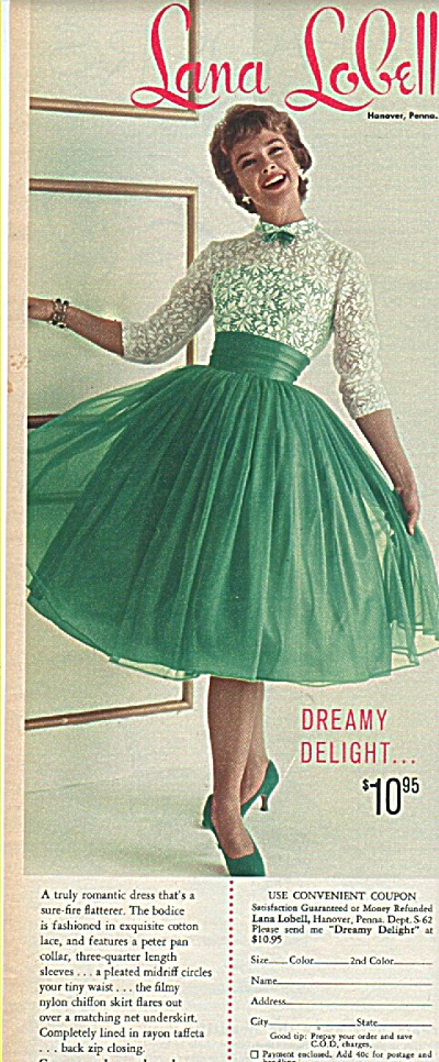 Lana Lobell Dress Ad 1958 1958 Fashion Model Ads At Miss