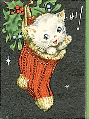 Vintage Kitten Christmas Card Christmas Books Cards Paper