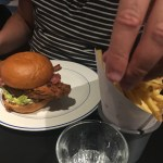 Chicken Burger with Bacon, Fries and a curiously big hand! - Foxlow Soho Review