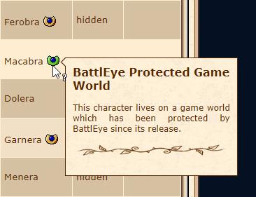 ícone do BE na lista de personagens