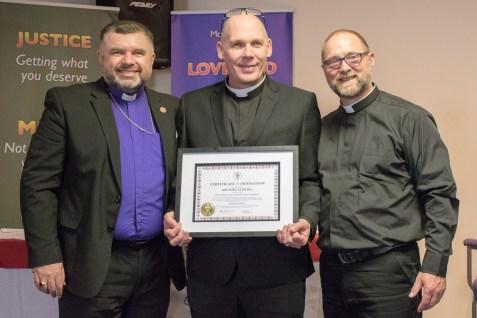 Bishop Steven Evans, assisted by Revd. Phillip Ingham ordained Michael Fleming