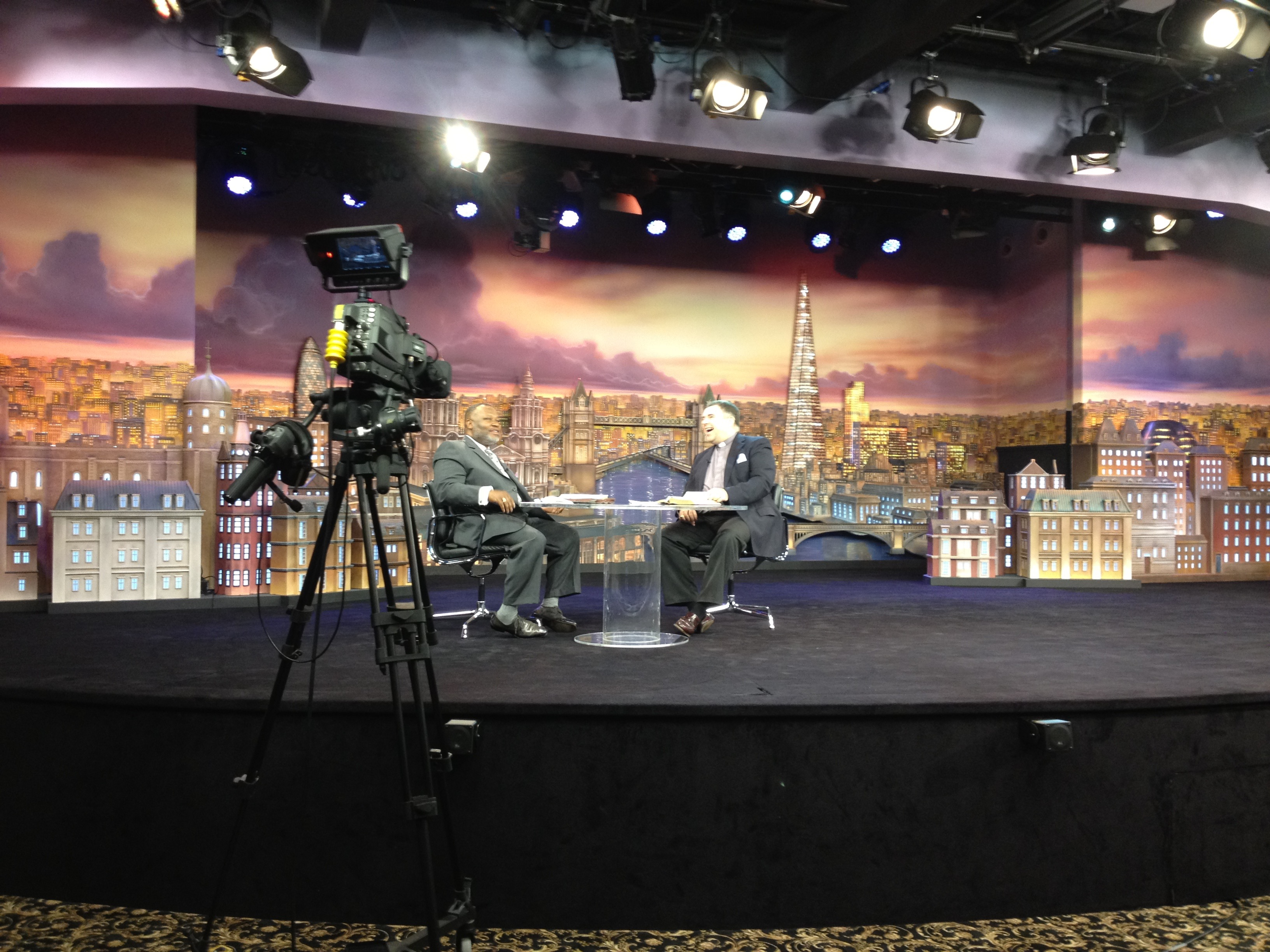 Bishop Steven filming at TBN studios London
