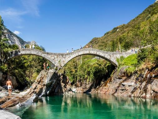 Image result for Ponte Dei Salti Bridge, Valle Verzasca