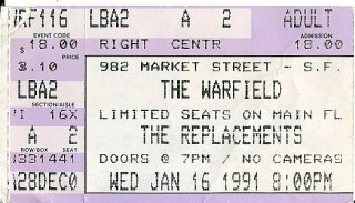 Replacements at Warfield 1991 stub