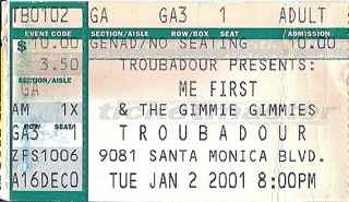 Me First and the Gimme Gimme's stub