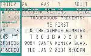 2001 Me First and the Gimme Gimmes ticket stub