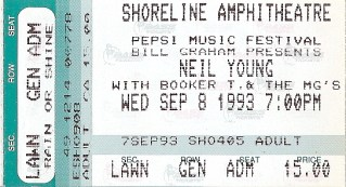 Neil Young Shoreline Amphitheater 1993 stub