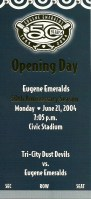 2004 Eugene Emeralds ticket stub vs Tri-City