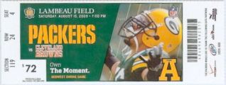 Browns at Packers 2009 stub
