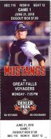 2010 Billings Mustangs ticket stub vs Great Falls