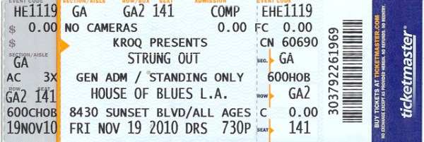 2010 Pulley ticket stub HOB Hollywood with Strung Out