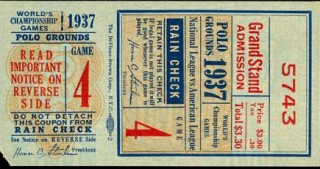 1937 World Series Game 4 Ticket Stub Yankees at Giants