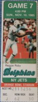 1985 Jets at Dolphins ticket stub