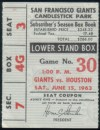 1963 Juan Marichal No Hitter ticket stub