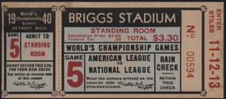 1940 World Series Game 5 Ticket Stub Reds at Detroit