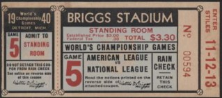 1940 World Series Reds at Detroit Gm 5 stub