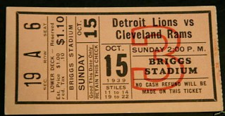 1939 NFL Rams at Lions Briggs Stadium Detroit stub