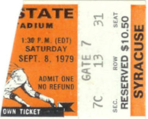 1979 NCAAF Ohio State ticket stub vs Syracuse
