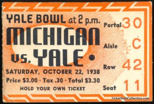 1938 NCAAF Michigan at Yale stub