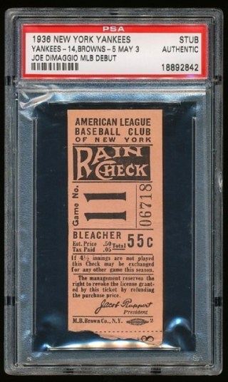 1936 Browns at Yankees DiMaggio debut stub