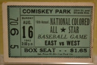1942 Negro League All Star Game Comiskey stub