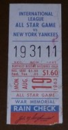 1963 International League All Star Game ticket stub vs Yankees