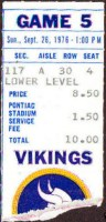 1976 Detroit Lions ticket stub vs Vikings