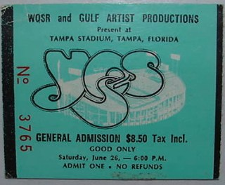 1976 Yes Tampa Stadium stub