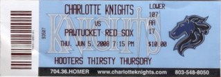 2008 MiLB Int'l League Pawtucket at Charlotte stub