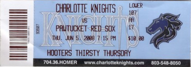 2008 Charlotte Knights ticket stub vs Pawtucket