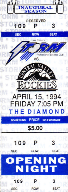 1994 Lake Elsinore Storm ticket stub vs Central Valley Rockies