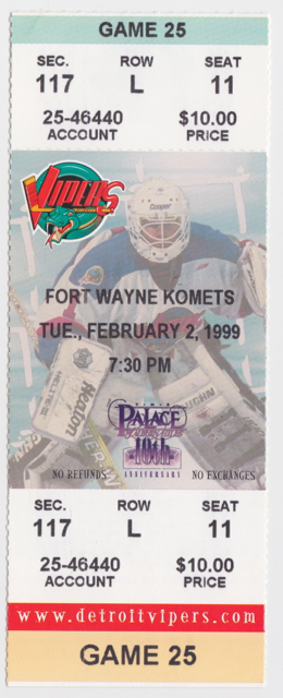 1999 IHL Detroit Vipers ticket stub vs Ft. Wayne
