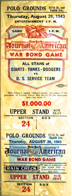 1943 War Bond Game Yankees Dodgers Giants