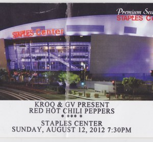 2012 Red Hot Chili Peppers ticket stub Staples Center