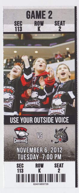 2012  AHL Wolves at Checkers ticket stub stub