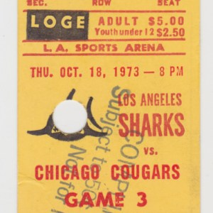 1973 Los Angeles Sharks ticket stub vs Chicago Cougars for sale