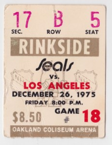 1975 California Golden Seals ticket stub vs Kings for sale