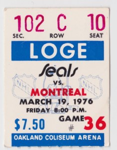 1975 California Golden Seals ticket stub vs Canadiens for sale