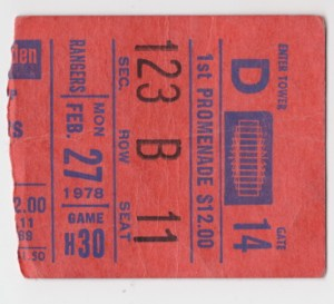 1978 New York Rangers ticket stub vs Atlanta Flames for sale