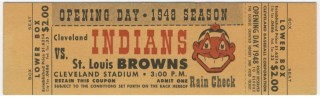 1948 Browns at Cleveland Indians Opening Day stub