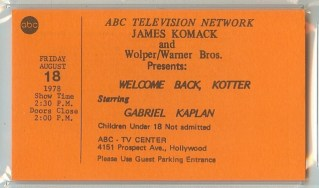 1978 Welcome Back Kotter Hollywood stub