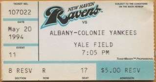 1993 MiLB Albany Yankees at New Haven Ravens stub